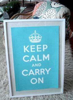 Keep Calm And Carry on Poster - Turquoise Blue in a worn whitewash frame