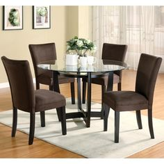 Shop for Mirage Round Glass Top Table /Chocolate Microfiber Parson Chairs…