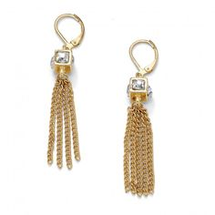 Crystal Cube and Chain Drop Earrings in Yellow Gold Tone at Viomart.com