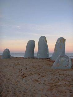 The Hand sculpture that rises out of the sand of the beach in Punta del Este, Uruguay, has become one of its country's most recognizable landmarks.