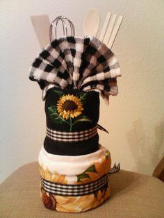 Wedding shower gift, kitchen towel cake