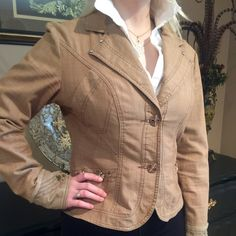 Nicola Berti jacket size L Beautiful light brown/ tan jacket with embellished back and sleeves size L by Nicola Beretti Nicola Betetti Jackets & Coats Blazers