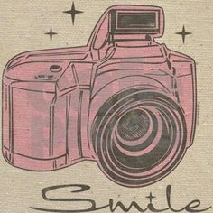 Distressed finish gray and pink vintage camera with the word SMILE. Perfect gift for encouragement or friendship. On T-shirts, mugs, tote bags, keepsake gifts and more! PinkInkArt original!