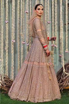Peach pink heavy work bridal lehenga by Sabyasachi Bridal Outfits, Bridal Dresses, Bridal Gown, Indian Dresses, Indian Outfits, Pakistani Dresses, Designer Bridal Lehenga, Designer Lehanga, Bridal Chuda