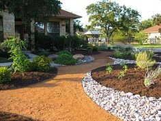 Austin Residential Landscape Photos | Austin Landscape Supplies  >> Love the use of different hardscapes as permeable garden lines and elements