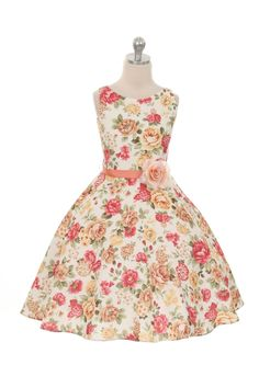Coral Sleeveless Floral Print Dress with Satin Sash Flower Girl Dress