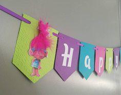 Banner de cumpleaños de los trolls