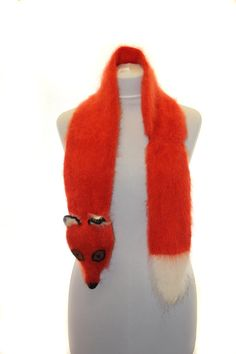 Hand knit fox Scarf / Fuzzy Soft Scarf / orange white / by TaniaSh
