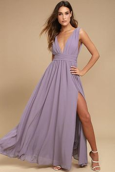 #AdoreWe #Lulus Lulus Heavenly Hues Dusty Purple Maxi Dress - AdoreWe.com