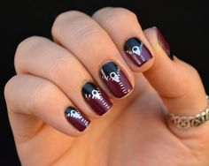 Nailed It.  yellow black pulse white nail color paint polish red lines slashes art hand finger fashion hip blue green spotted stripes patterned black glitter gold silver orange purple tribal beige teal zip it zippers classy elegant casual formal