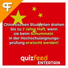 Chinesischen Studenten drohen bis zu 7 Jahre Haft, wenn sie beim Schummeln in der Hochschuleignungsprüfung erwischt werden. Also am besten nicht erwischen lassen ;)
