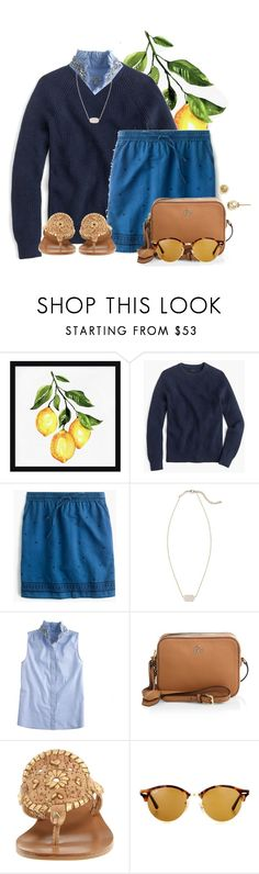 """she loved life, and it loved her right back"" by flroasburn ❤ liked on Polyvore featuring Pottery Barn, J.Crew, Kendra Scott, Tory Burch, Jack Rogers and Ray-Ban"