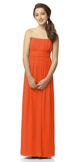 Dessy JR519 Tangerine Tango in Lux Chiffon | Weddington Way