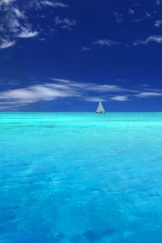 Blue Ocean and Beautiful Blue Sky Sea And Ocean, Ocean Beach, Ocean Waves, Beautiful Beaches, Beautiful Ocean, Beautiful Scenery, Beautiful Pictures, Sailing, Places To Visit