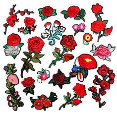 Grunge Punk Emo Goth Black Rose Embroidered Patch Flower Applique Motif