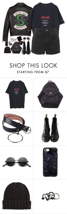 """""""#183"""" by lenabitkina ❤ liked on Polyvore featuring Heron Preston, MANU Atelier, Dr. Martens, Casetify, Hot Topic, Topshop and MyFaveTshirt"""