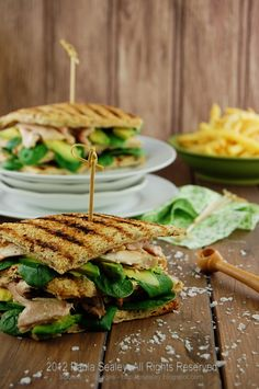 Chicken, Spinach and Avocado Toasties ~ Spoons 'n' Spades