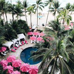 pink pool umbrellas