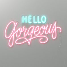 Neon Signs Quotes, Led Neon Signs, Photo Wall Collage, Picture Wall, Pink Neon Sign, Neon Words, Girly Quotes, Hello Gorgeous, Beautiful