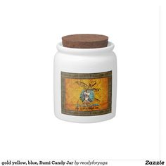 gold yellow, blue, Rumi Candy Jar