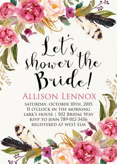 Printable Bridal Shower Invitation Boho Chic by INVITEDbyAudriana
