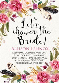 Printable Bridal Shower Invitation Boho Chic by INVITEDbyAudriana