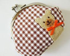 Coin purse bear on brown gingham check. $33.00, via Etsy.