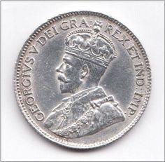 CANADA 25 Cents 1919 aUNC KM25 Grades Almost Uncirculated HIGH GRADE COIN - RARE