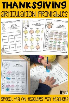 No-Prep Thanksgiving articulation activities! Save time and energy during the holiday by printing these black and white printables that target all sounds in all positions! Thanksgiving speech therapy made easy! 64 pages of no prep articulation activities. Click for more info.