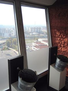 Urinals in Bratislava's wobbly UFO bar! Pee in the bucket and with such a view you have to be careful not to miss!