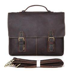 98.79$  Buy now - http://alirsz.worldwells.pw/go.php?t=1339878915 - Fashion Vintage Crazy Horse Leather Men's Handbag  Messenger Bag Laptop Bag Briefcase Bag 7090R