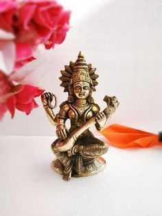 "Brass Statue Goddess Saraswati"" Goddess of Music, Art, & Wisdom, 22 cm Tall Brass Goddess, Religious Saraswati Murti, Saraswati Idol, Saraswati Statue, Saraswati Goddess, Durga Maa, Saraswathi Devi, House Warming Ceremony, Birthday Return Gifts, Cute Baby Girl Pictures"