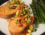 Lemon salmon with mango salsa. This is a perfect healthy recipe for a quick weeknight meal.
