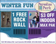 Use this ad for some awesome family fun at Paradise Park!!  // For more family resources visit www.ifamilykc.com! :)