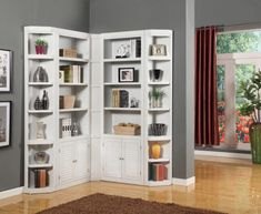 L Shaped White Bookcase With Shutter Cabinet Door Design Idea