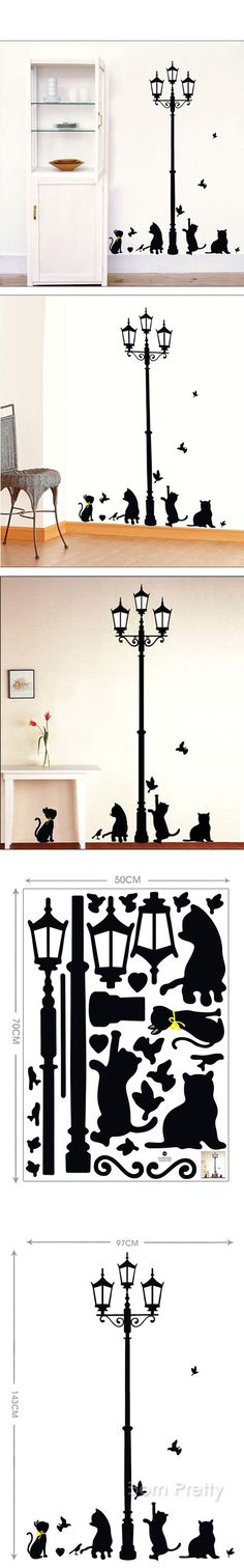 €7.82 Black Cat Light Wall Decal DIY Room Stickers- BornPrettyStore.com I'd like just the lantern - for a bit of a Narnia feeling