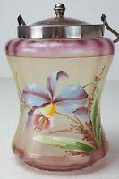 Antique Art Glass Biscuit Cracker Jar Glass Enamel Hand Painted Iris Concave