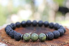 Healing Mala Bracelet for Men Lava Rock Onyx Matte by DharmaWoods