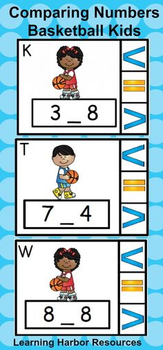 Compare numbers with these clip style task cards and greater than, less than, and equal to symbols.  March is a great month for a basketball theme.  These can be used all year.  Engage your little sports fans with these task cards. Answer key, recording sheet and direction signs included.