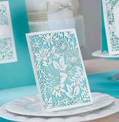 50pcs Laser Cut Tiffany Blue wedding invitations by staceystudio