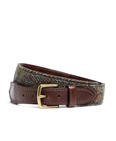 Herringbone Tweed and Pebble Leather Wool Belt Olive