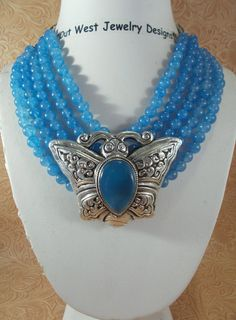 Cowgirl Necklace Set  Chunky Five Strand Blue Jade with a Handcrafted Blue Agate Butterfly Pendant by Outwestjewelry