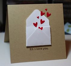 clean&simple - I have the Envelope Punch Board.how have I NEVER thought of this? Valentine Day Crafts, Love Valentines, Tarjetas Diy, Making Greeting Cards, Heart Cards, Valentine's Day Diy, Love Cards, Paper Cards, Creative Cards