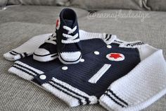 $$$ but very cute    Crochet baby cardigan and booties  FREE SHIPPING. kr1,000.00, via Etsy.