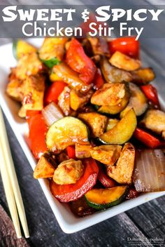 Sweet and Spicy Chicken Stir Fry - Fresh vegetables mixed with chicken and a delicious sweet and spicy sauce! Only takes 20 minutes to cook so is the perfect busy night meal!