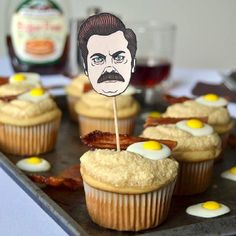 Maple breakfast cupcakes inspired by Parks & Rec character, Ron Swanson + bonus tutorial on how to create Ron Swanson cupcake toppers!