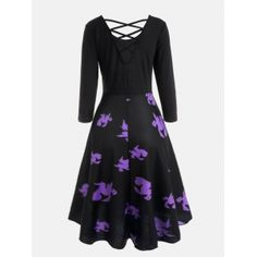 Halloween Witches Print Cross Back Flare Dress - BLACK XL