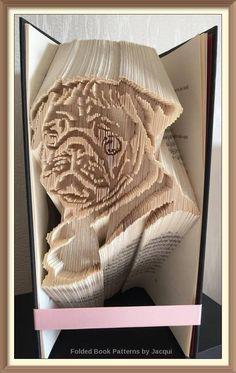 A29. Book Folding PATTERN - Pug - Dog by JHBookFoldPatterns on Etsy