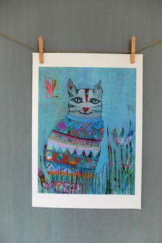 Cat Art Print Wall Decor Kids Art Nursery Decor Wall by coocoovaya