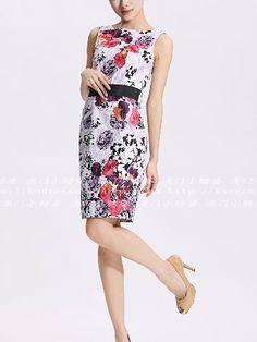 Ladies printing embroidery Slim Dress  8 10 12 14 16